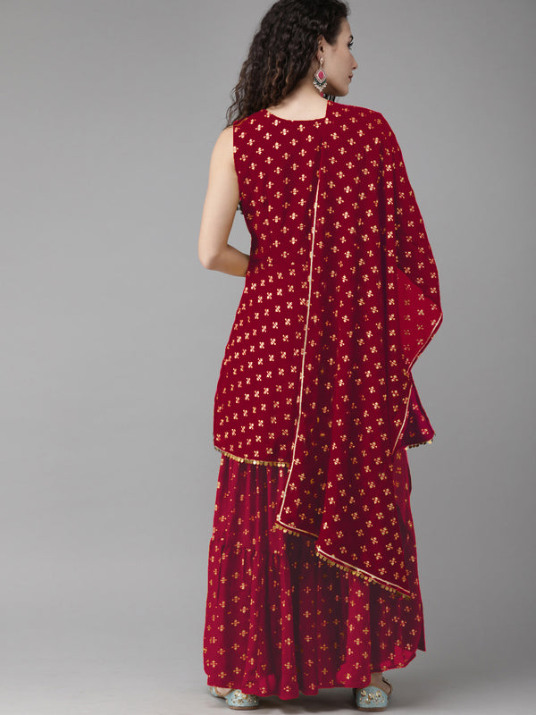 Women Maroon & Gold-Toned Printed Kurti with Sharara & Dupatta