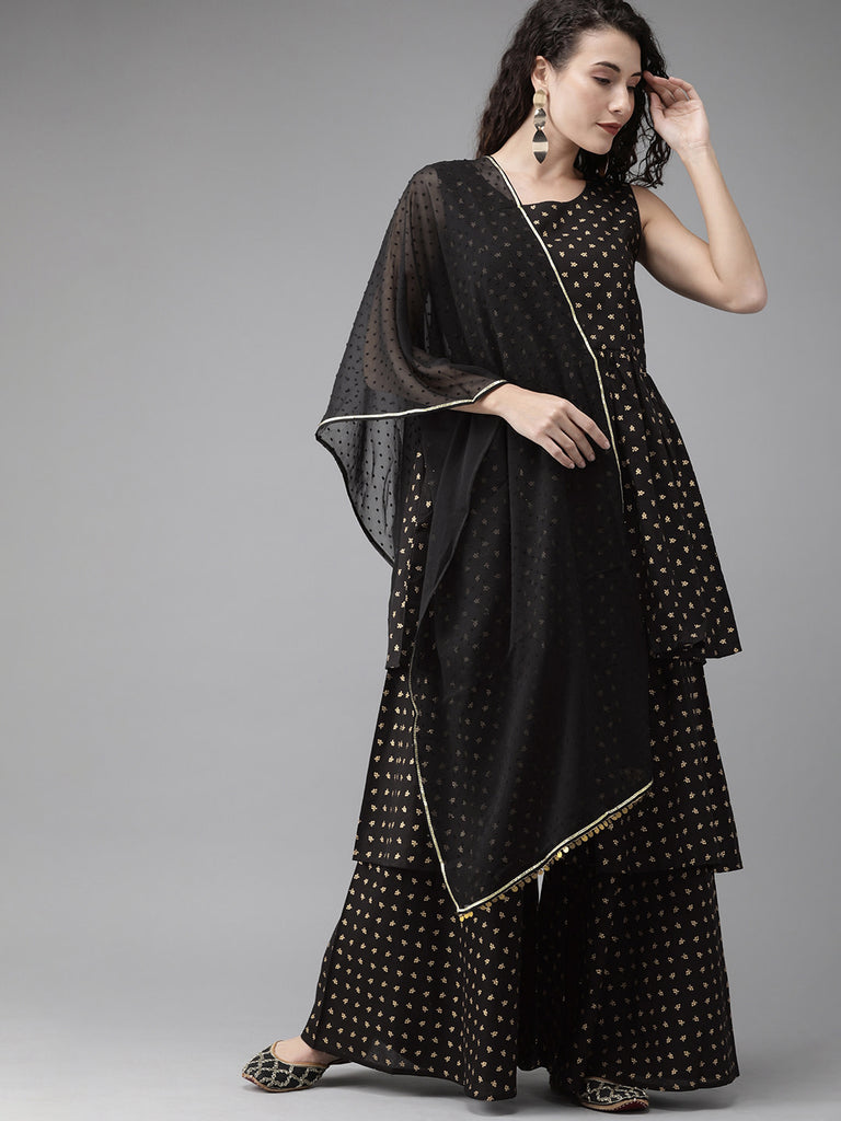 Women Black Printed Suit Set from