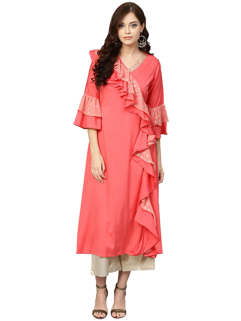 Angrakha Style Ruffled Kurta For Women