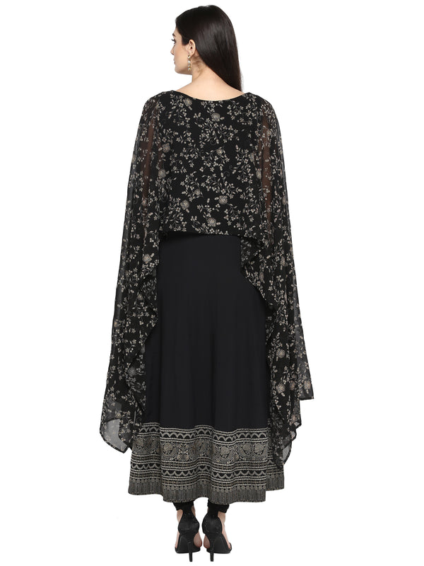 Women Black Printed Anarkali Kurta from Ahalyaa