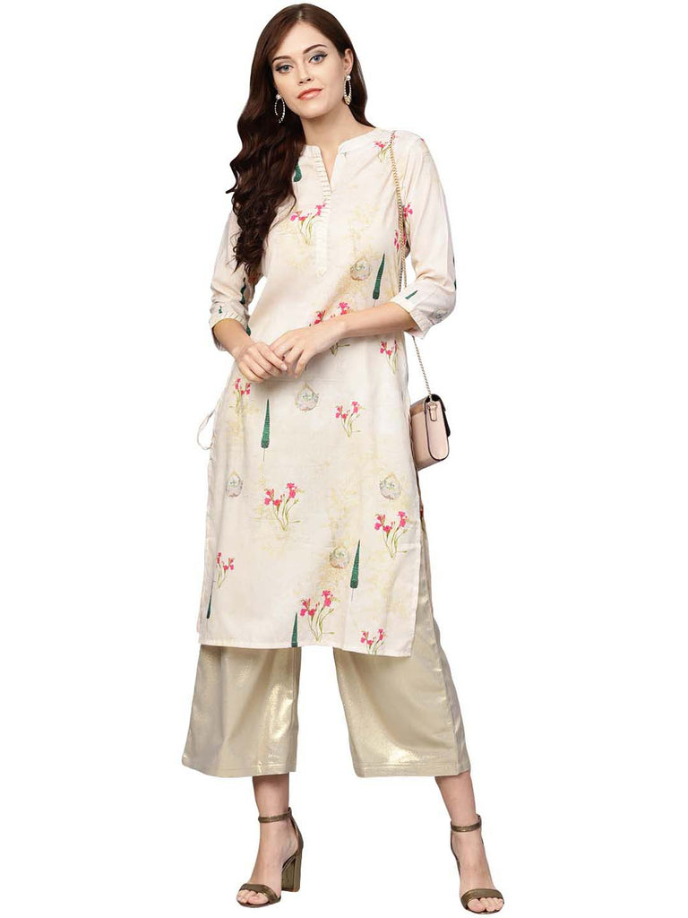 Beige Printed Straight Kurta For Women
