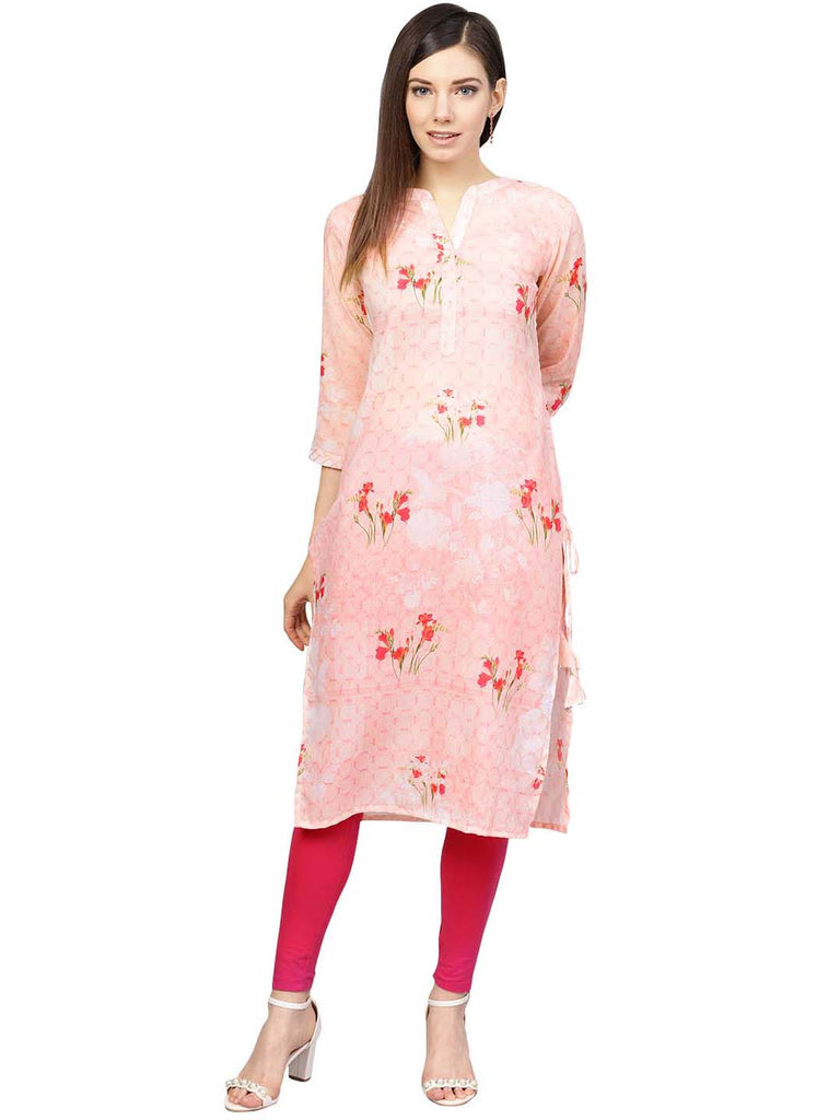 Printed Floral Muslin Straight Kurta For Women