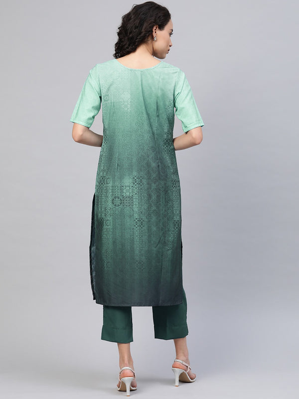 Ahalyaa Women Sea Green & Blue Printed Kurta with Trousers