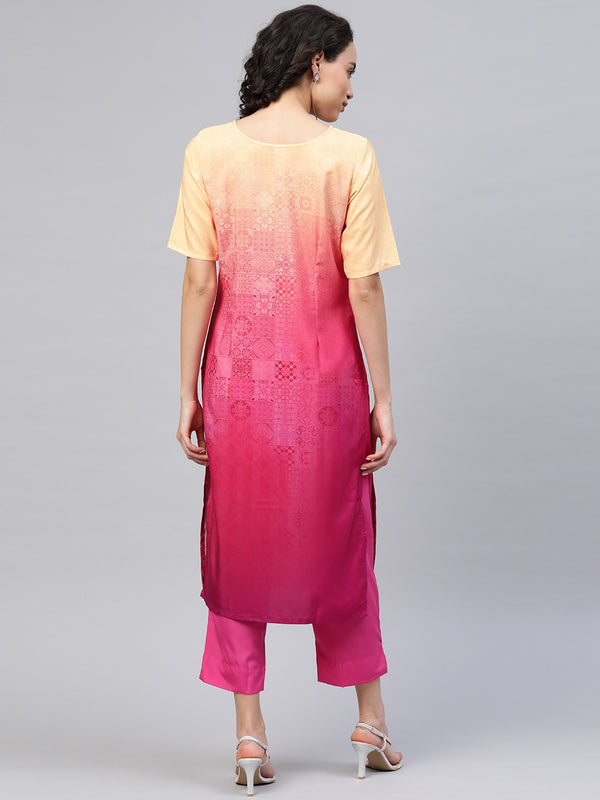 Ahalyaa Women Pink & Golden Dyed Printed Kurta with Trousers