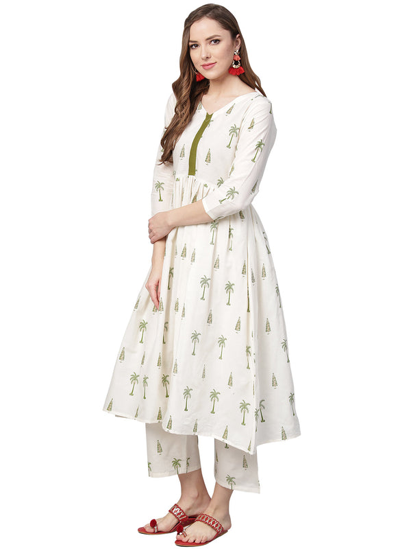 Ahalyaa Pure Cotton Off White Gathered Kurta With Pants