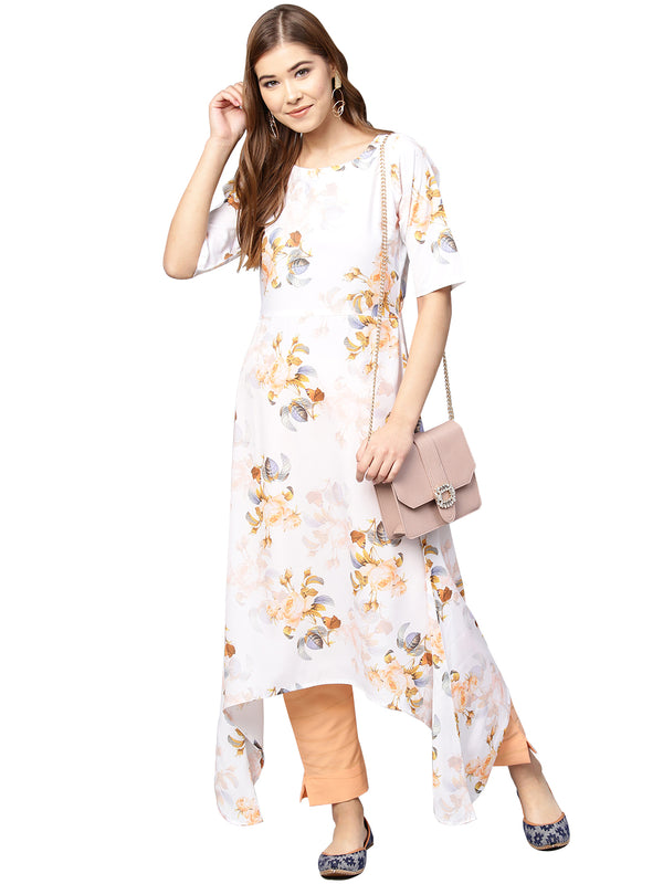 Ahalyaa White & Peach Floral Kurta With Pants
