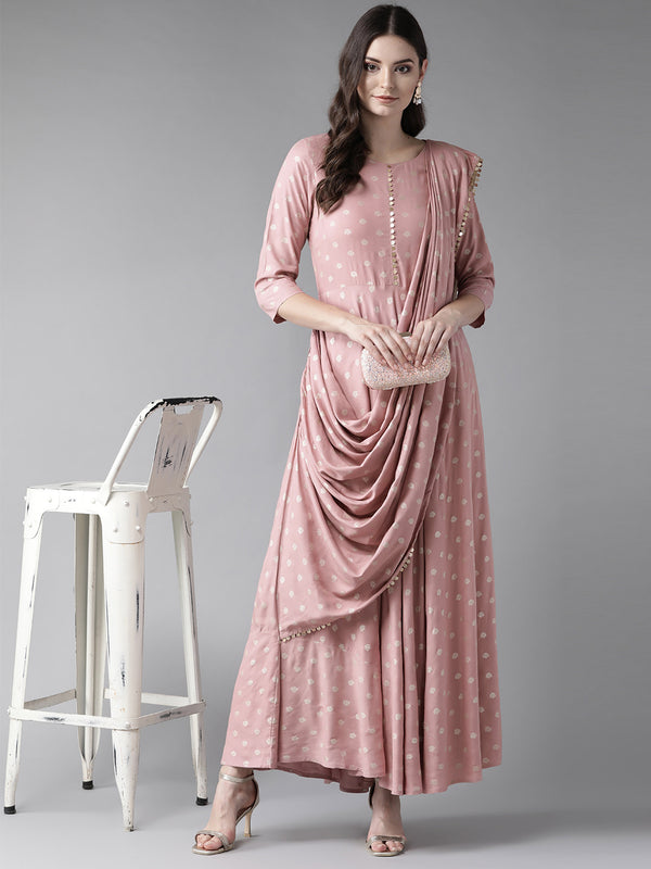 Pink & Golden Printed Maxi Dress With Attached Dupatta