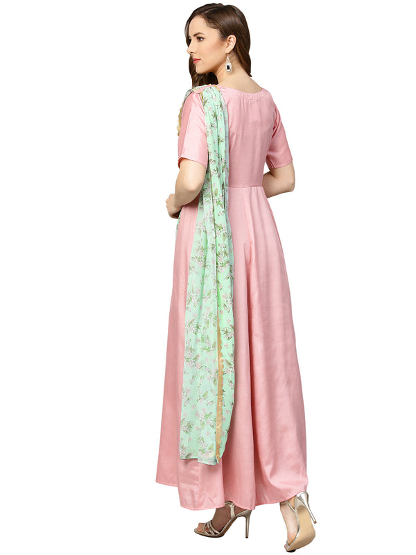Women Draped Dupatta A line Dress