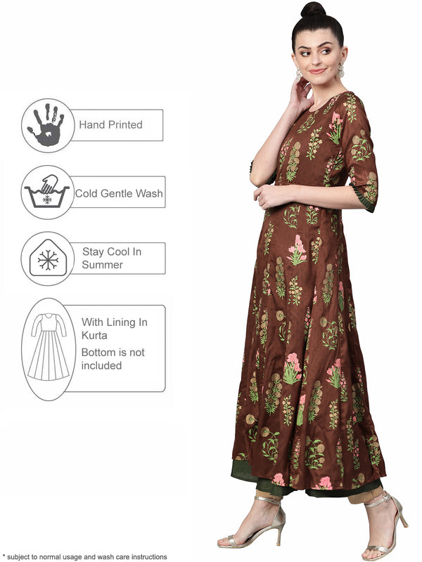 Women Anarkali Floral Print Kurta from Ahalyaa
