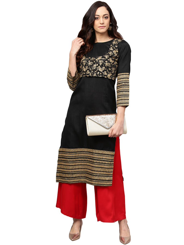 Black Printed Straight Kurta