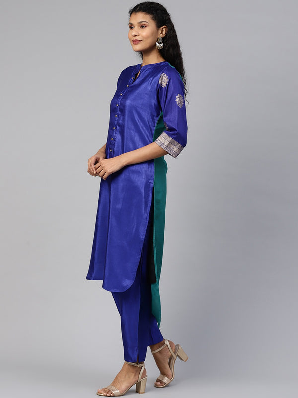High Low Hem Pathani Kurta set