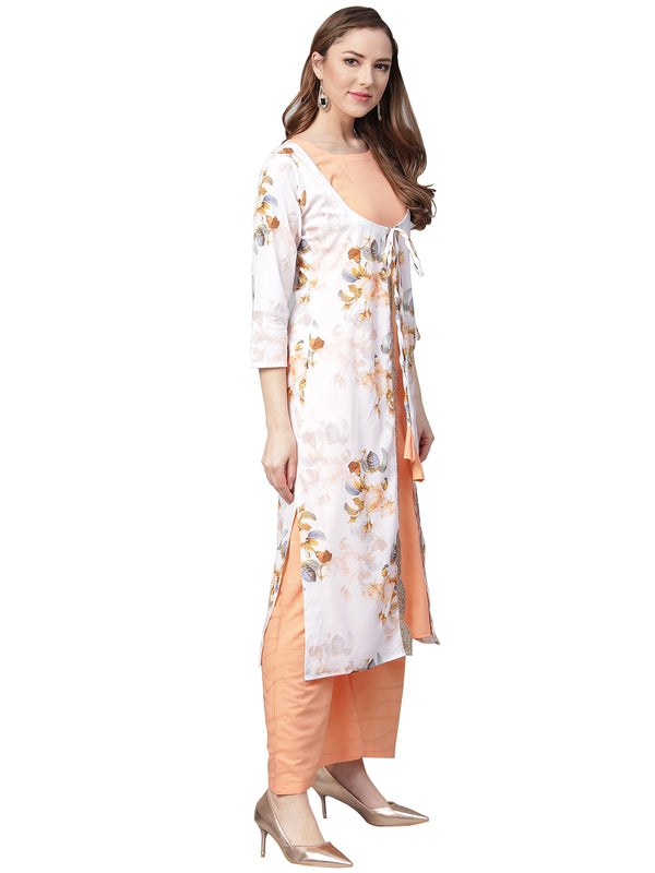 Ahalyaa White & Peach Floral Jacket Style Kurta With Plazzo