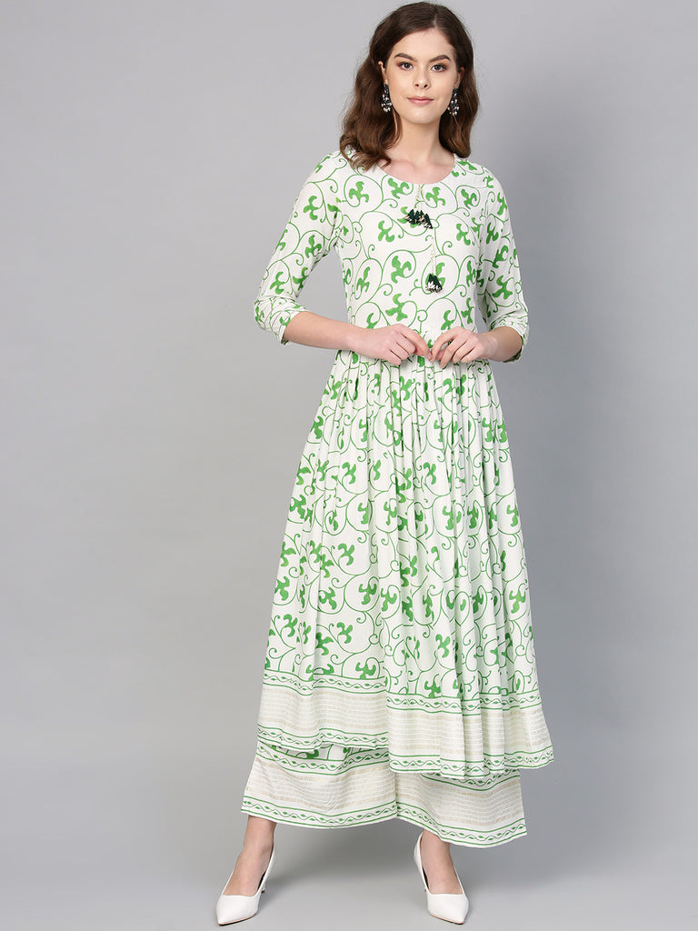 Green Round Neck Assymetrical Floral Kurta with Palazzo