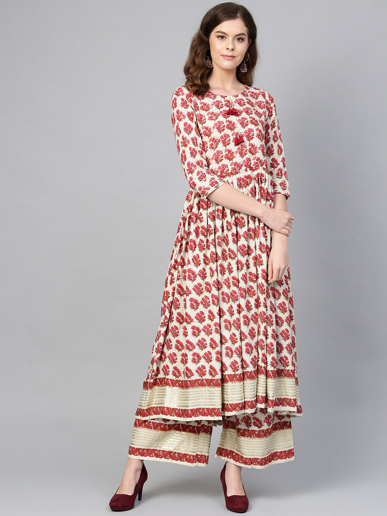 Multi-color Round Neck Asymmetrical Floral Kurta with Palazzo