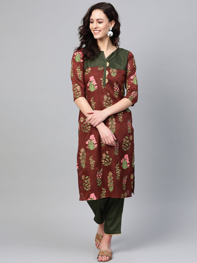 Women Floral Straight Kurta with Pant