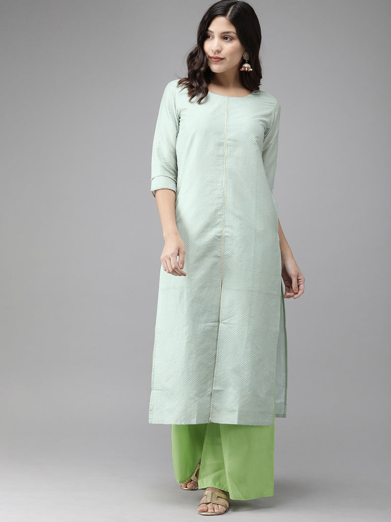 Women Blue Gold Kurta set from Ahalyaa