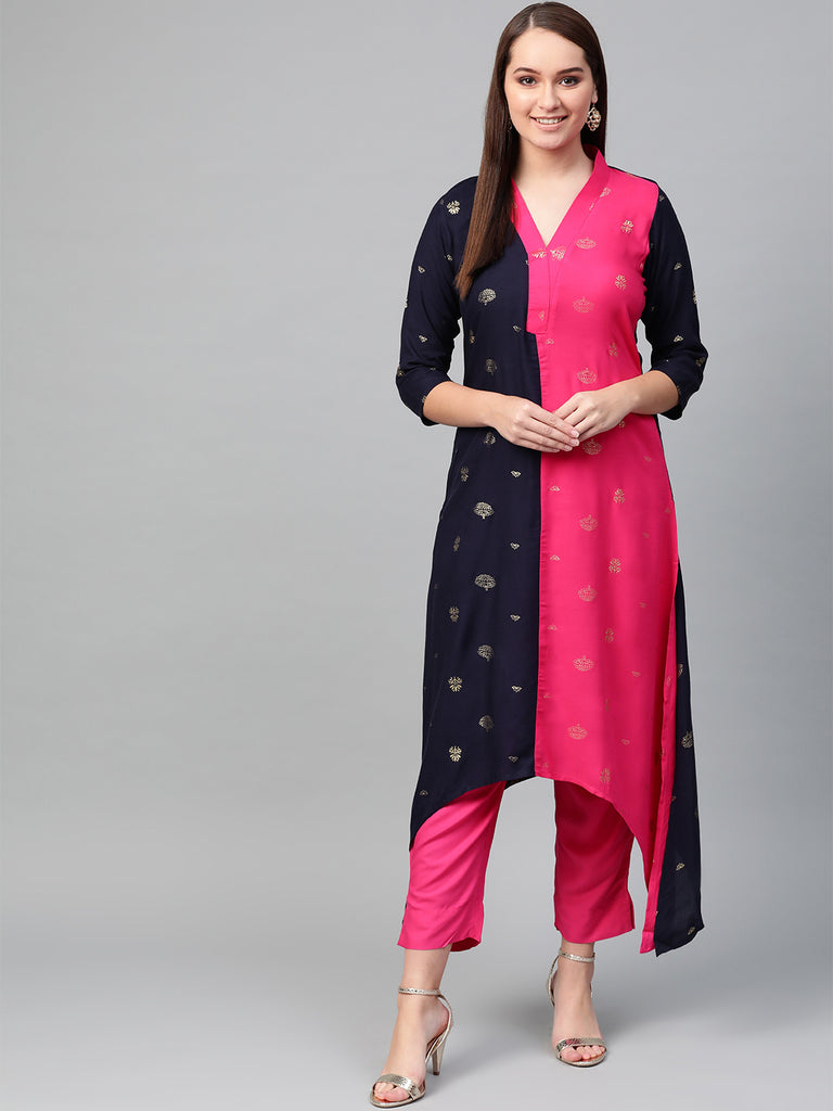 Colourblocked A Line Kurta with Pant from Ahalyaa