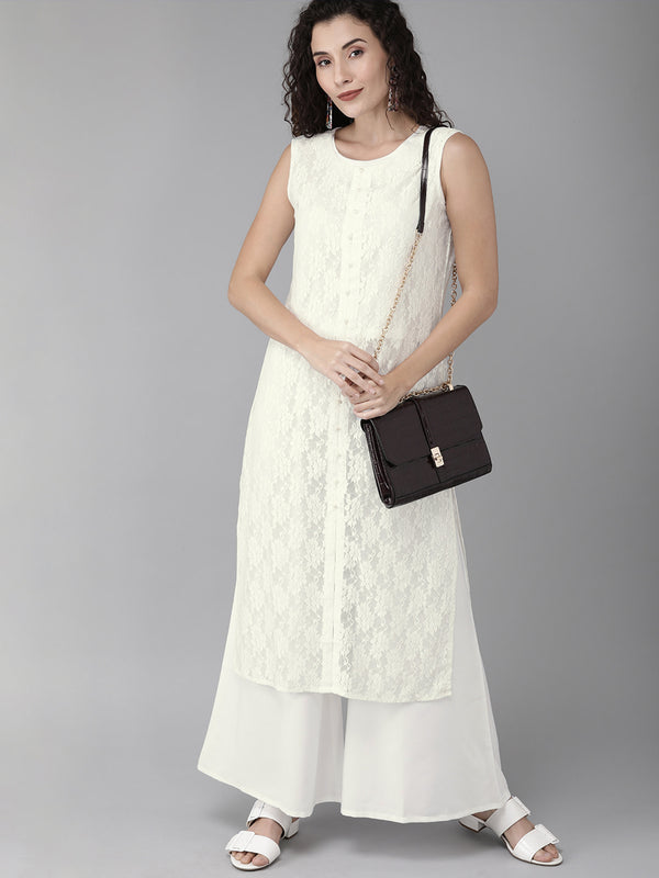 White Embellished Kurta with Palazzo set from Ahalyaa