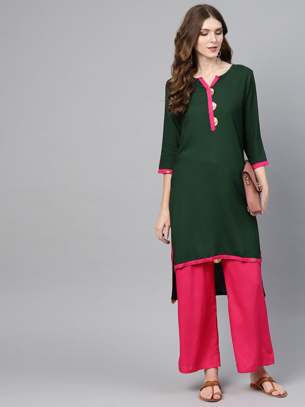 Ahalyaa Green Solid Straight Kurta for women