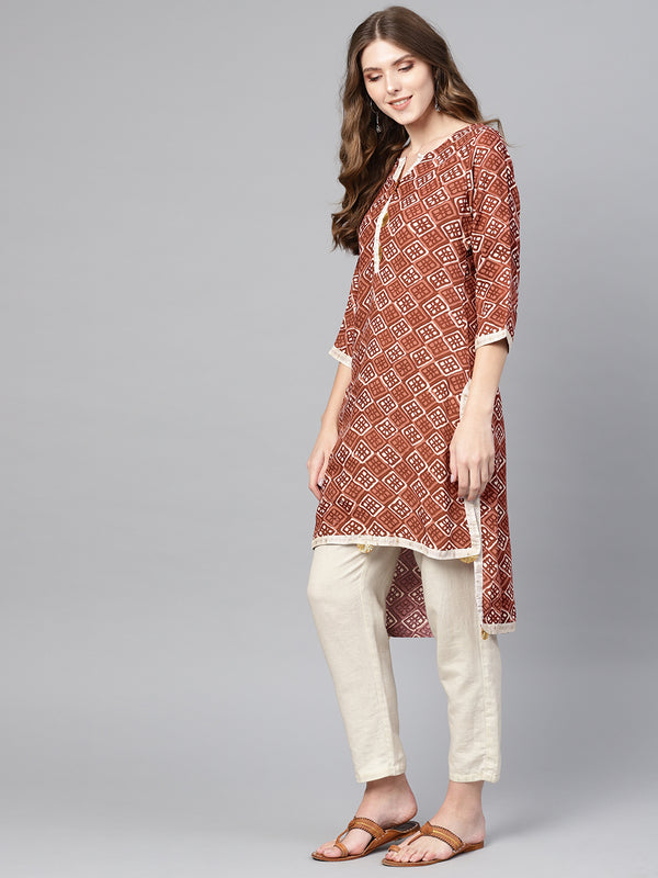 Ahalyaa Brown Printed Straight kurta for Women