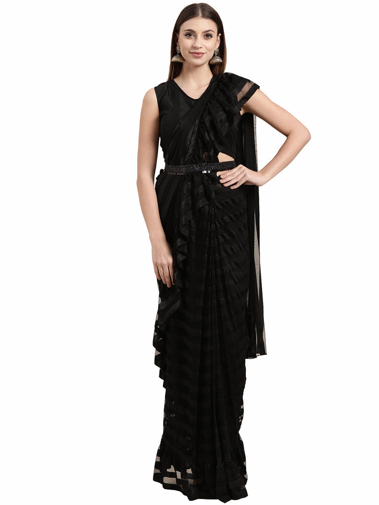 Black Self-Striped  Ruffled Ready to Wear Saree Set