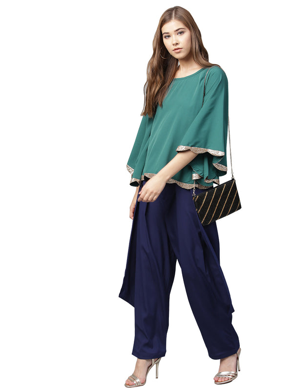 Ahalyaa Indo Western  Sea Green Cape With Drape Pants