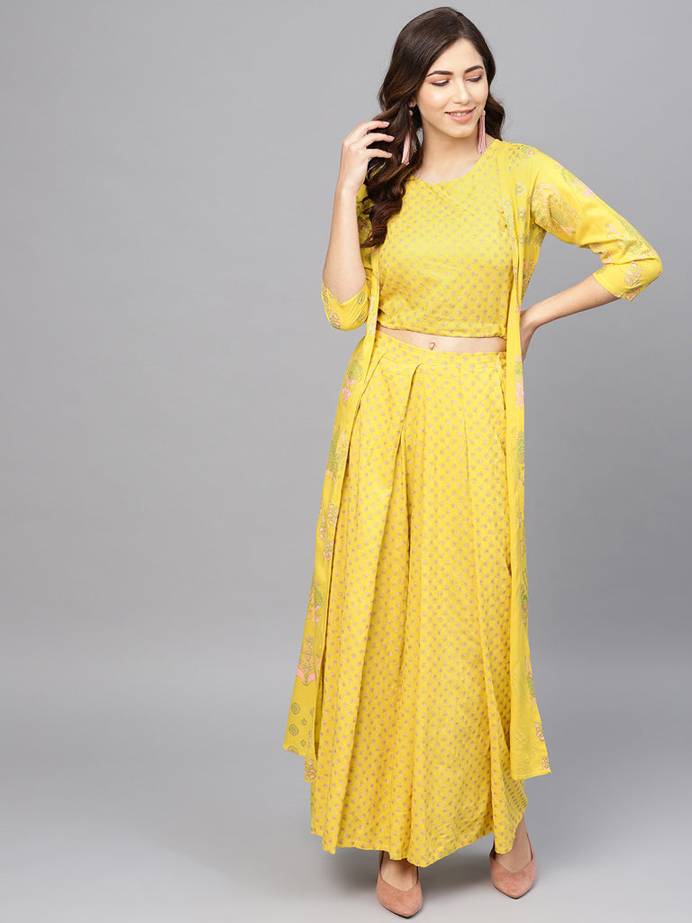 Yellow Printed Crop Top with Shrug for Women
