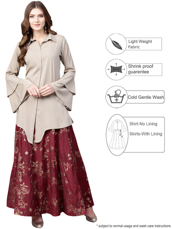Ahalyaa Indowestern  Beige & Maroon  Shirt  With Skirt Set