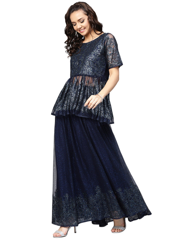 Ahalyaa Navy Blue Peplum Net Indowestern Sets