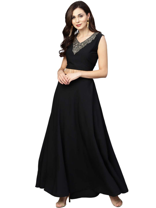 Ahalyaa Black, Golden Straight Crepe, Georgette Kurta Sets