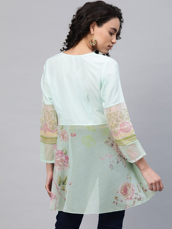 Ahalya Women Sea Green & Pink Floral Print Semi-Sheer Angrakha Tunic