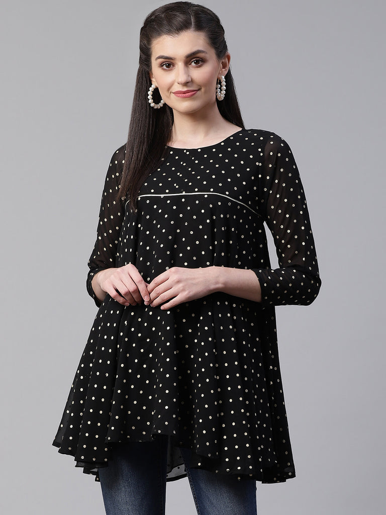 Black Polka Dot Fancy Printed Tunic