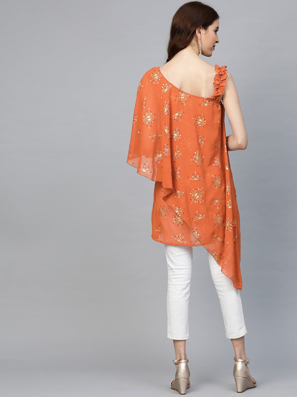 Women One Shoulder Printed Tunic