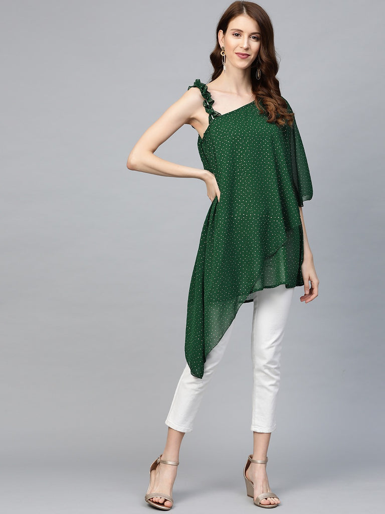 Women One Shoulder Green Printed Tunic