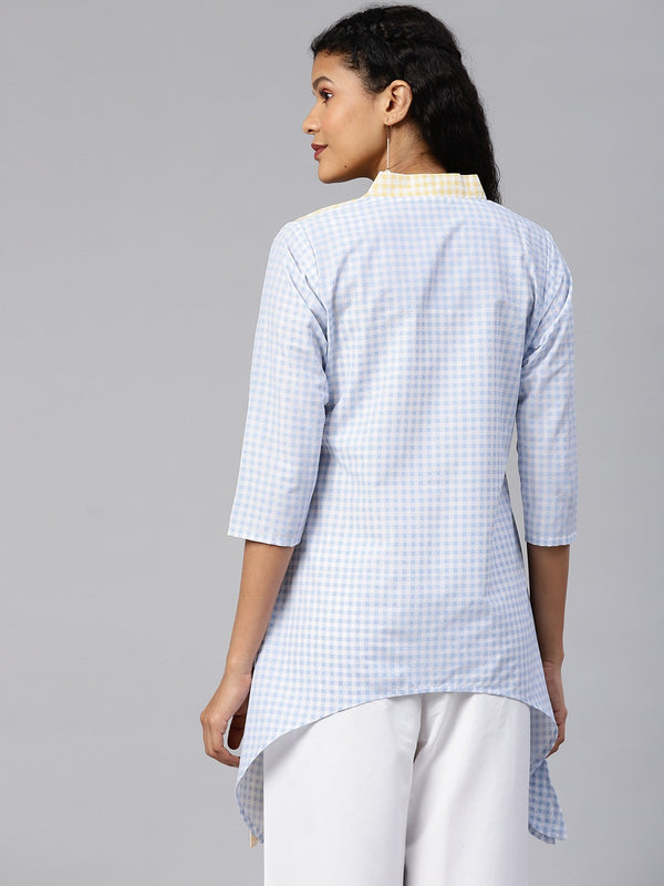 ColourBlocked Printed Checks Tunic