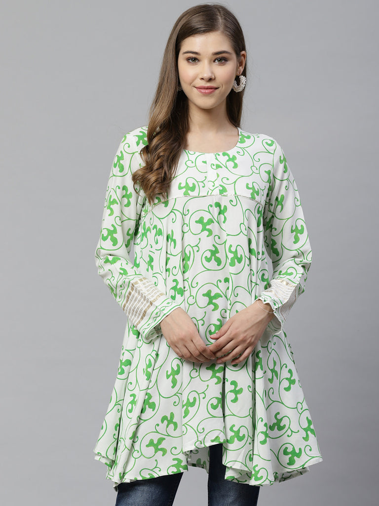White & Green Ethnic Printed Asymmetric Tunic