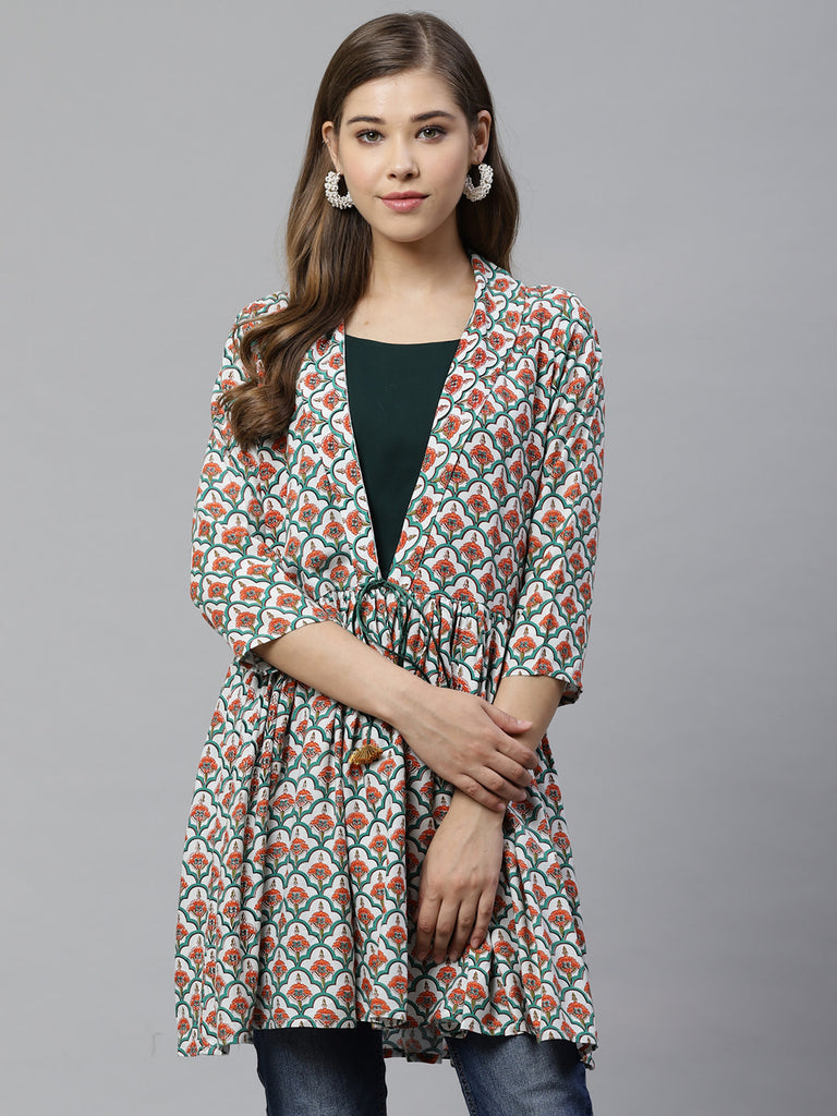 Multicolor Fancy Printed Waist Tie up Tunics
