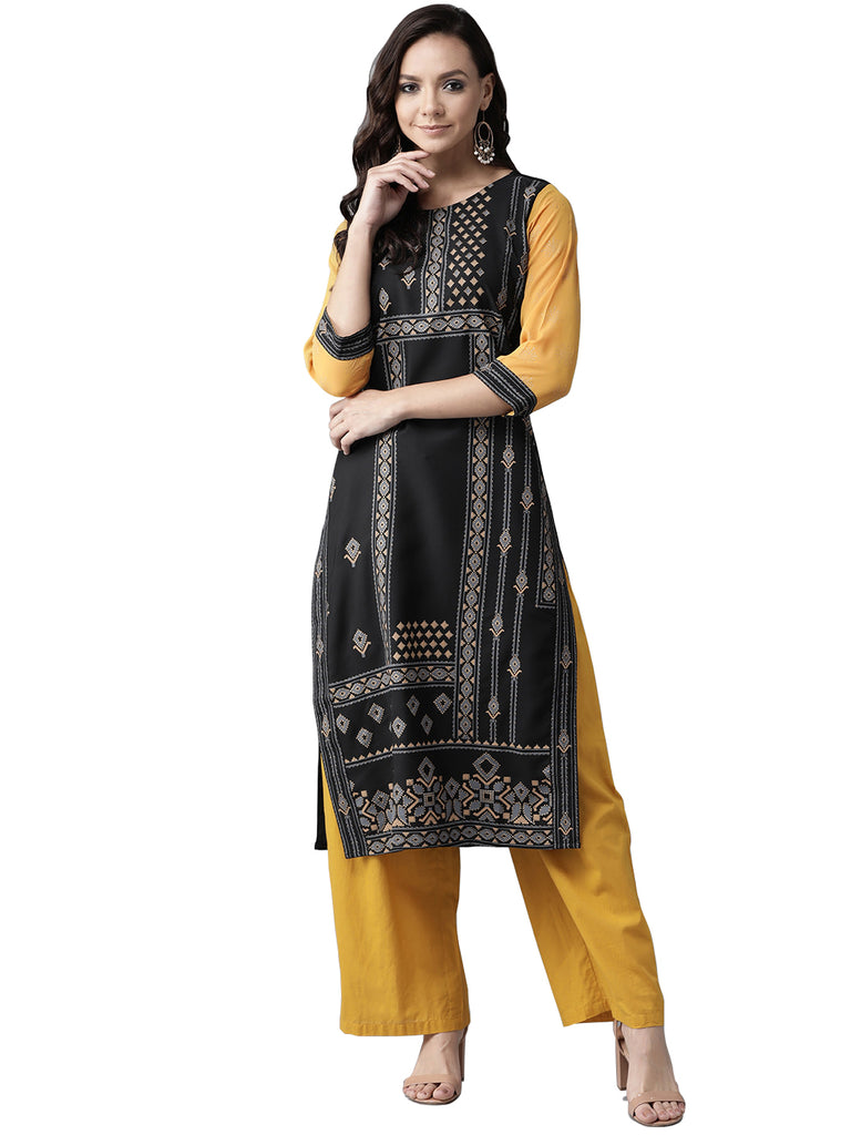 Ahalyaa Women's Black Straight Kurta