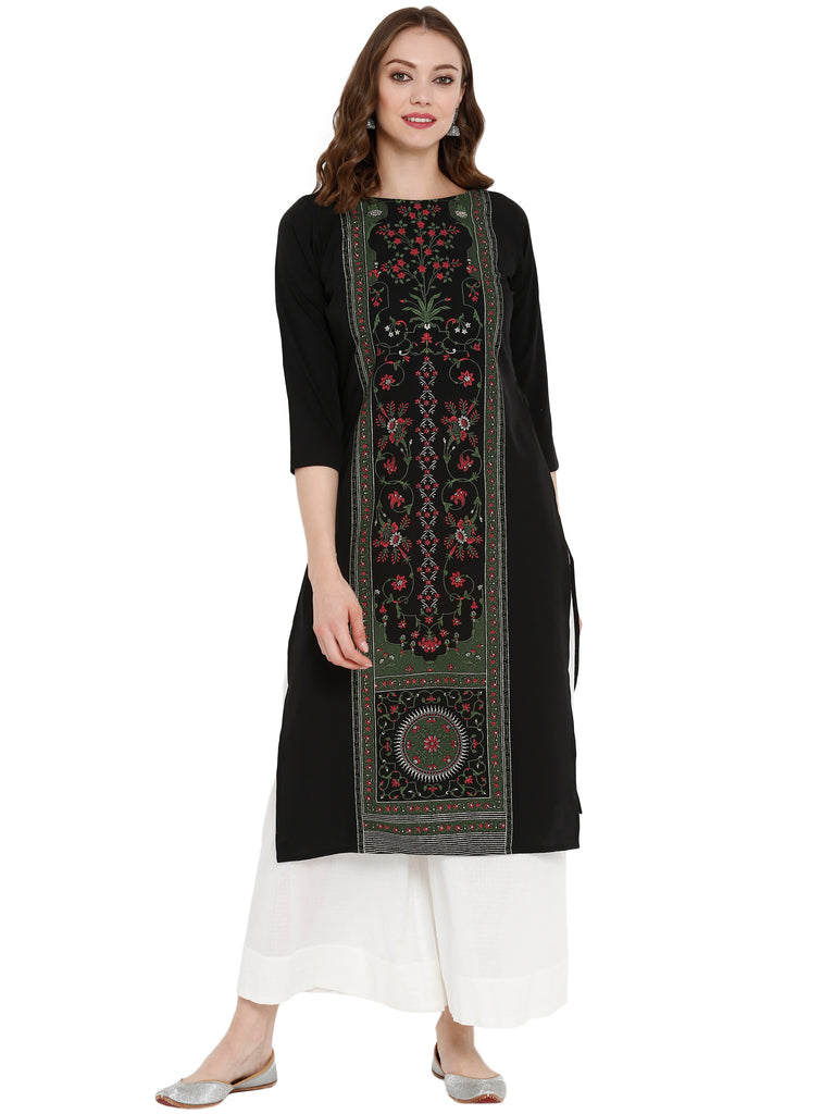Women Self Design Crepe Straight Kurta from Ahalyaa