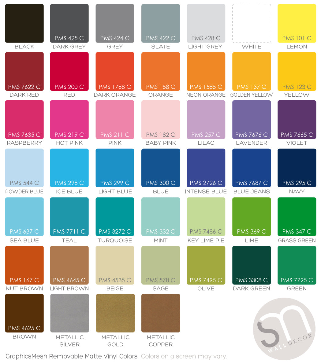 Wall Decals Color Chart Removable Matte Vinyl Graphicsmesh