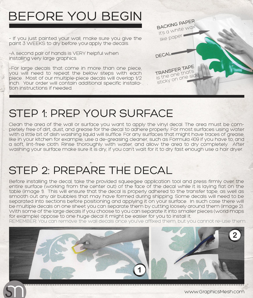 Wall decals installation instructions how to install surface how to install wall decals amipublicfo Image collections
