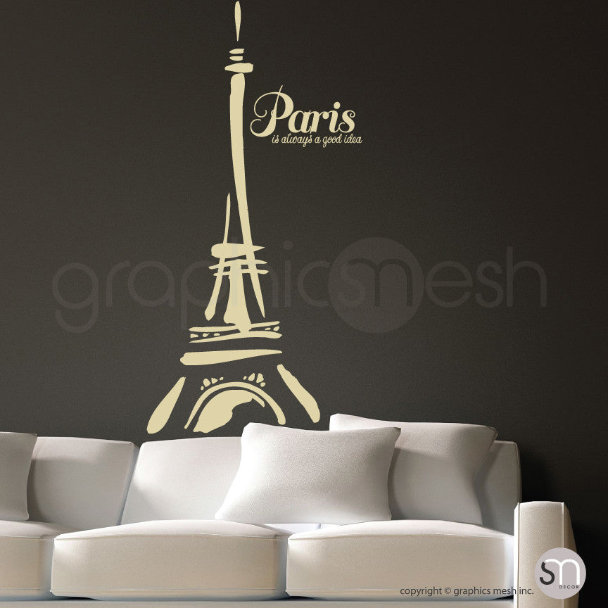 "Abstract Eiffel Tower and ""Paris. It's always a good idea"" beige decals"