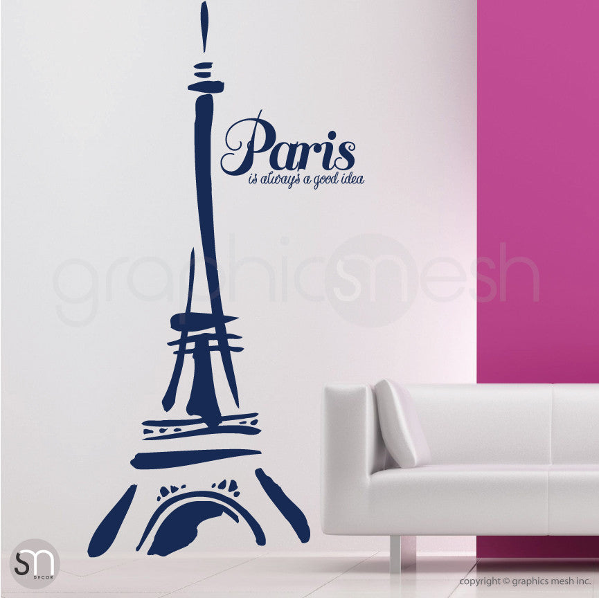 "Abstract Eiffel Tower and ""Paris. It's always a good idea"" navy decals"