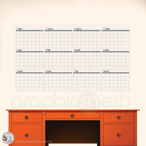 ACADEMIC YEAR BLANK CALENDAR - September thru August - DRY ERASE clear