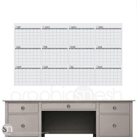 ACADEMIC YEAR BLANK CALENDAR - September thru August - DRY ERASE grey