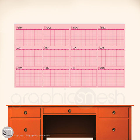 ACADEMIC YEAR BLANK CALENDAR - September thru August - DRY ERASE pink