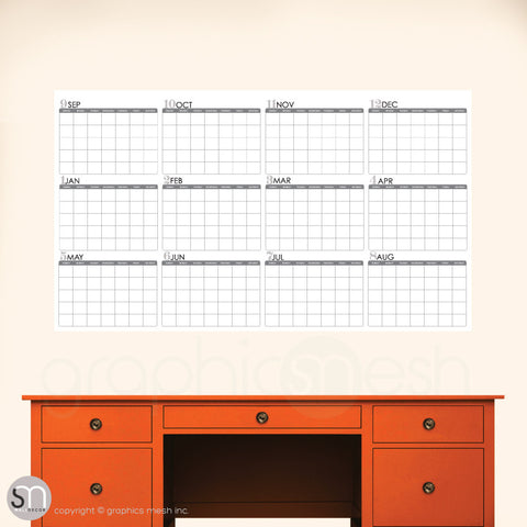 ACADEMIC YEAR BLANK CALENDAR - September thru August - DRY ERASEwhite