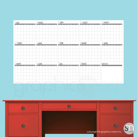 ACADEMIC YEAR BLANK CALENDAR - July thru August - DRY ERASE WALL DECAL