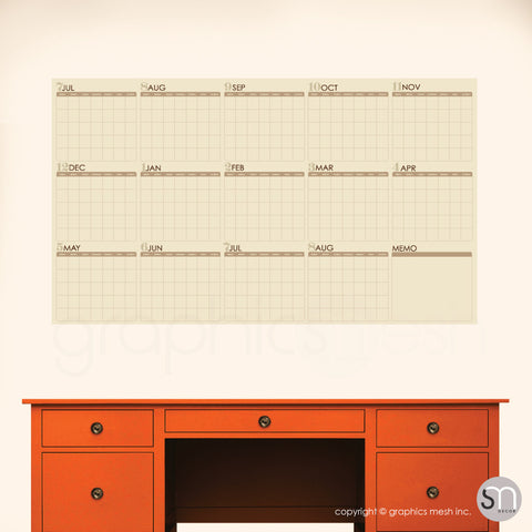 ACADEMIC YEAR BLANK CALENDAR - July thru August - DRY ERASE WALL DECAL beige