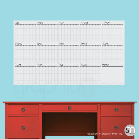 ACADEMIC YEAR BLANK CALENDAR - July thru August - DRY ERASE WALL DECAL grey